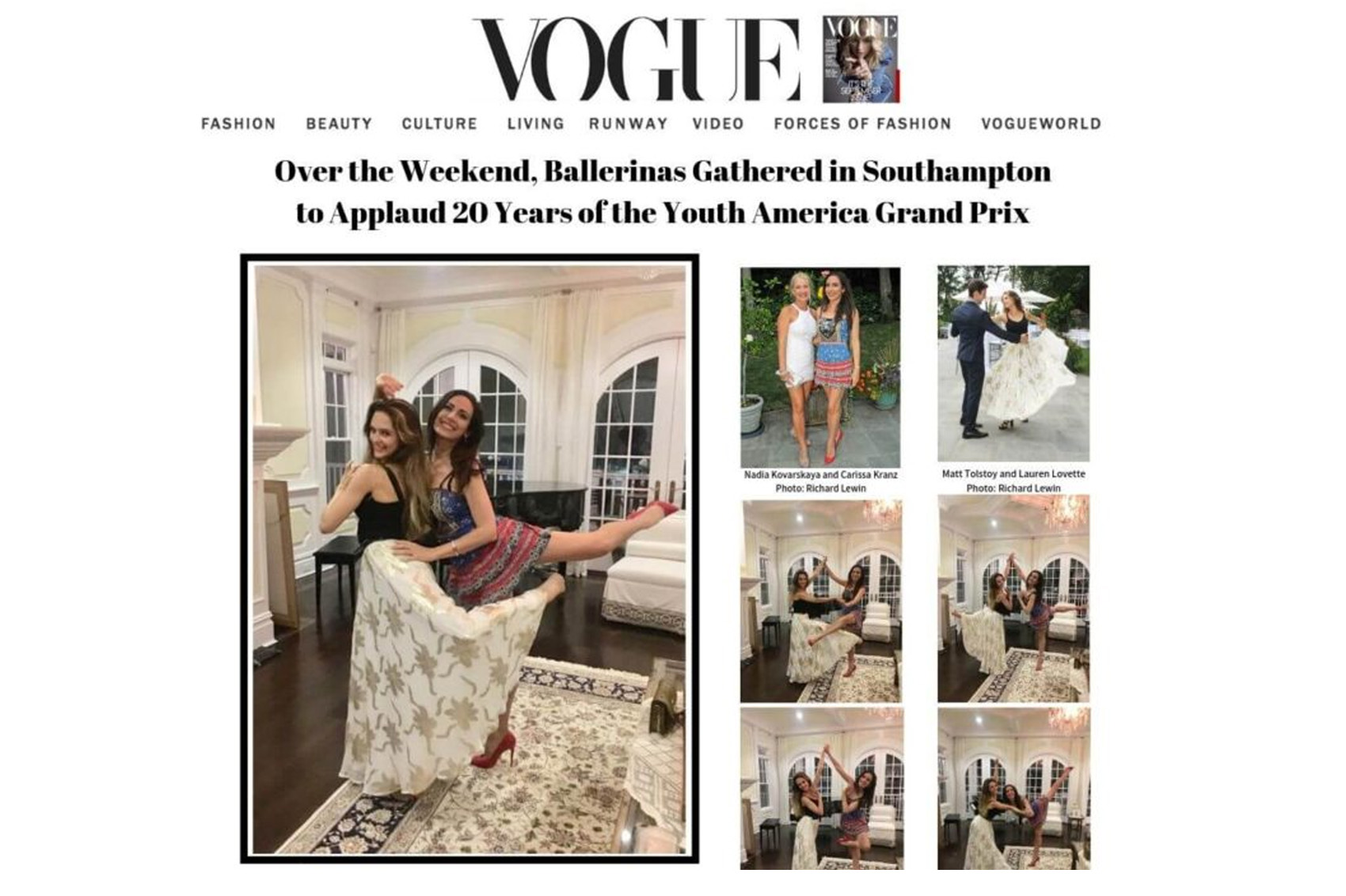 Vogue: Over the Weekend, Ballerinas Gathered in Southampton to Applaud 20 Years of the Youth America Grand Prix