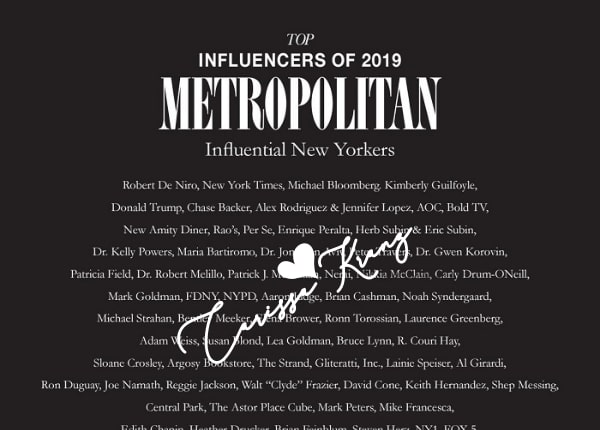 Metropolitan Magazine: Top Influencers of NY